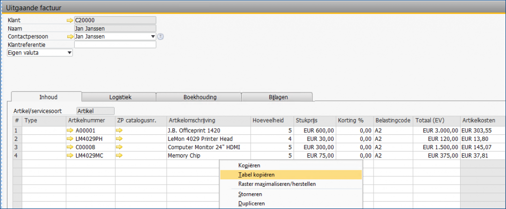 SAP Business One data import met Excel